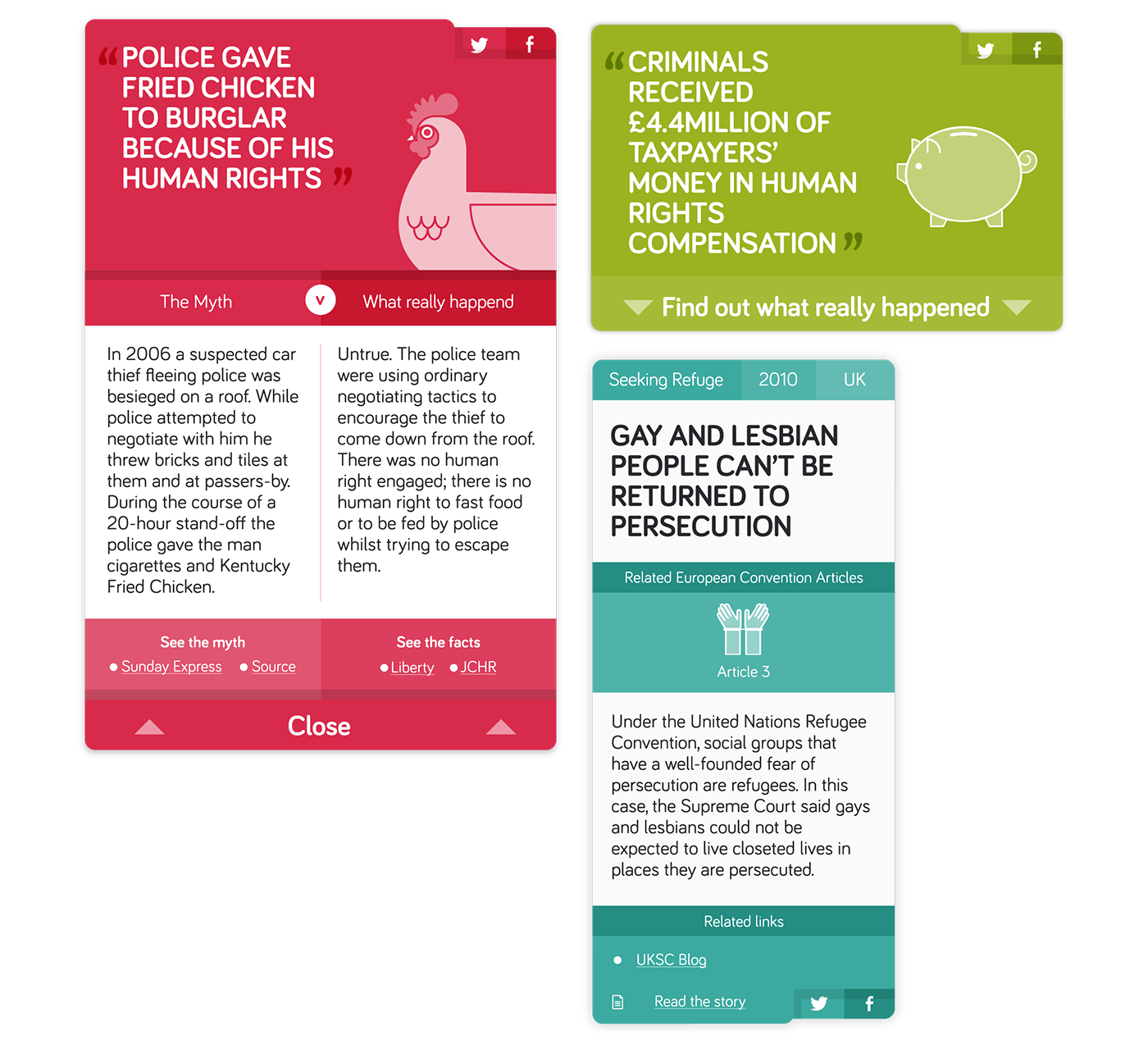 Three myth busting cards for 'Human rights explainers'