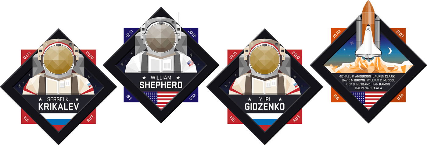 Image of four astronaut badges from 'Living Space'