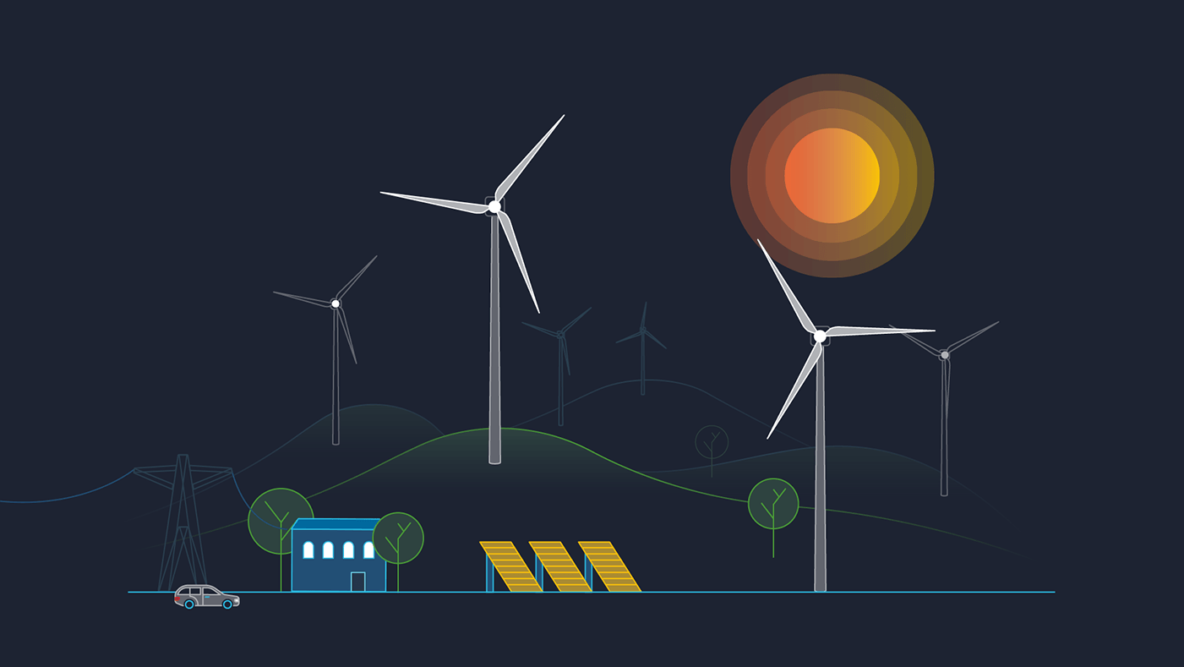 Illustration of wind turbines and solar panels