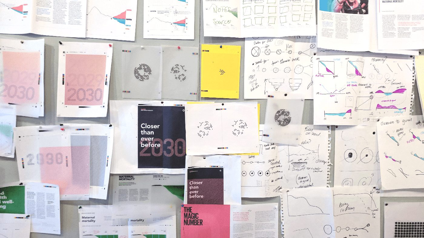 wall of pencil sketches showing data visualization exploration
