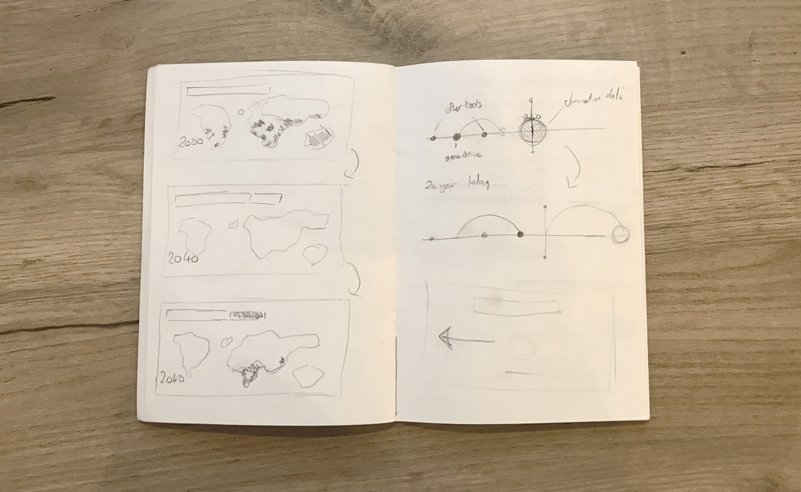 Image of a sketchbook with some early visualization pencil sketches