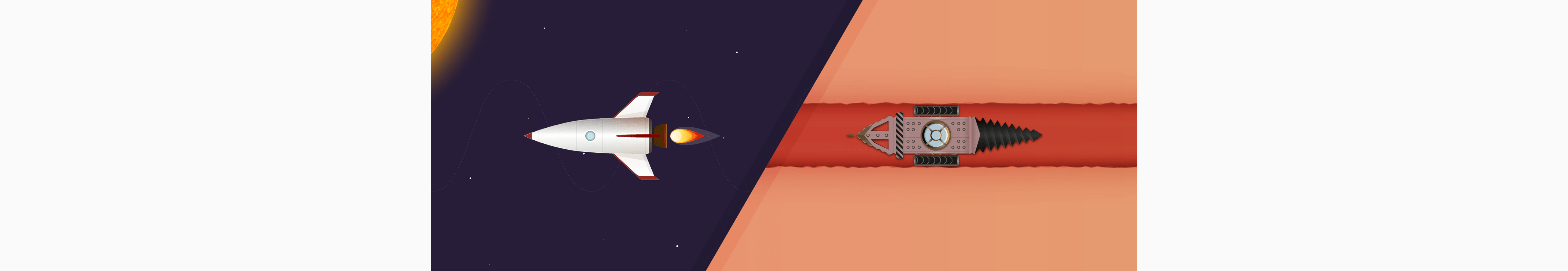 Picture of the rocket and digger from the visualization
