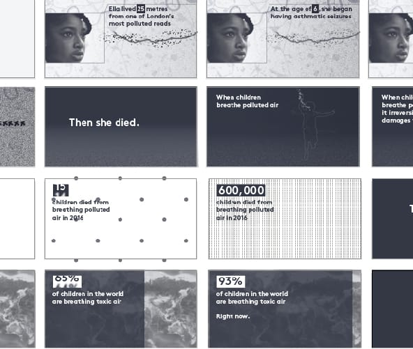 Animation frames for Ella Kissi-Debrah data visualization by Beyond Words