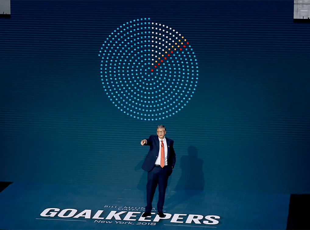 Photo of Bill Gates on stage at Goalkeepers 2018 event