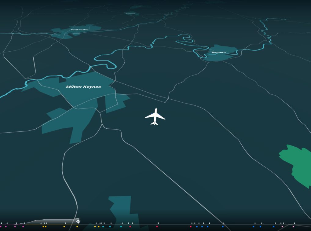 Image of a 3D animated plane travelling over the UK